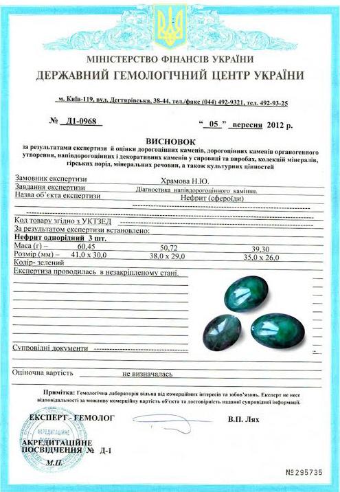Сертификат на Нефрит